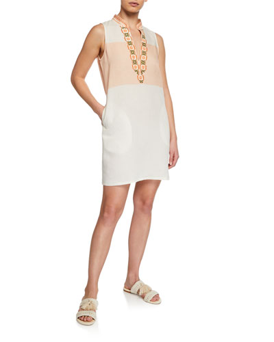 Colorblock Embroidered Sleeveless Tunic Dress