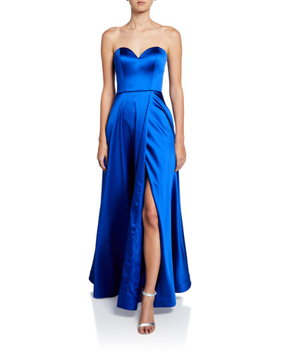 Strapless Sweetheart Satin Gown