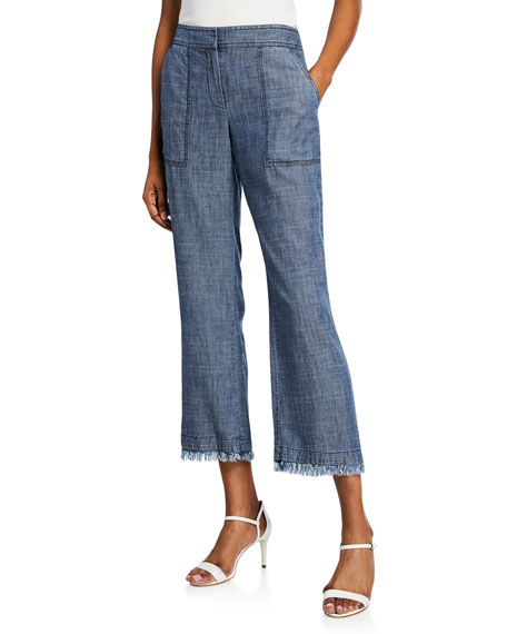 Trina Turk Pants CHECK IN CHAMBRAY CROPPED FRAYED PANTS