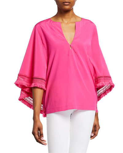 Carry On Silk Frayed Top