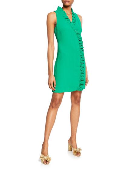 Trina Turk Relaxation V-Neck Sleeveless Carmel Crepe Ruffle Dress