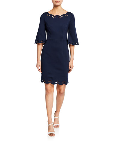 Delight Boat-Neck Half-Sleeve Scallop Dress with Eyelet Details