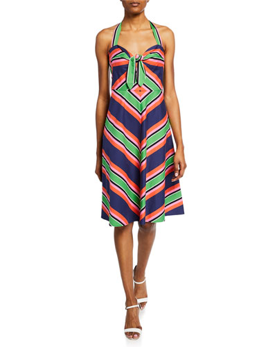 Rhiannon Stripe Halter Fit-and-Flare Dress