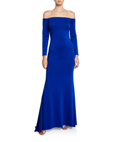 Off-the-Shoulder Long-Sleeve Gown