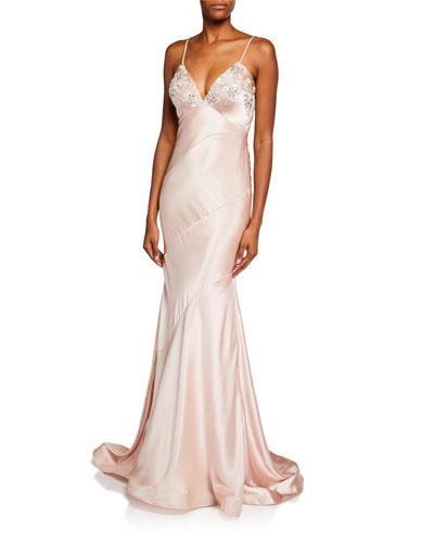 Bead Embellished V-Neck Sleeveless Satin Slip Gown