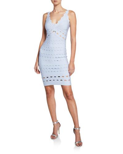 V-Neck Sleeveless Fitted Laser-Cut Dress
