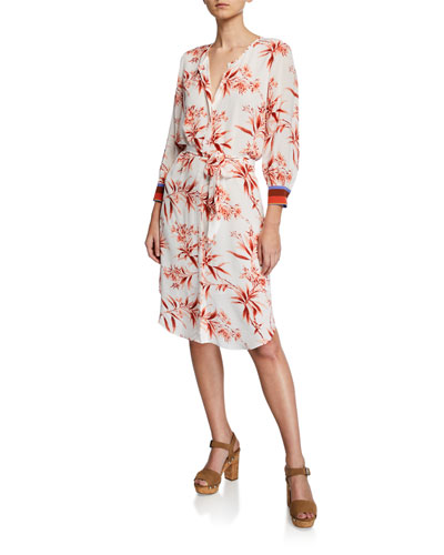 Jeanee Floral-Print Button-Front 3/4-Sleeve Dress