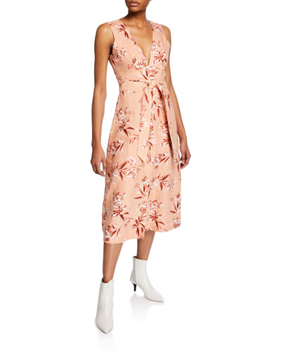 Ethelda Floral-Print V-Neck Sleeveless Midi Dress