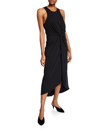 Seamour Sleeveless Twisted-Front High-Low Dress