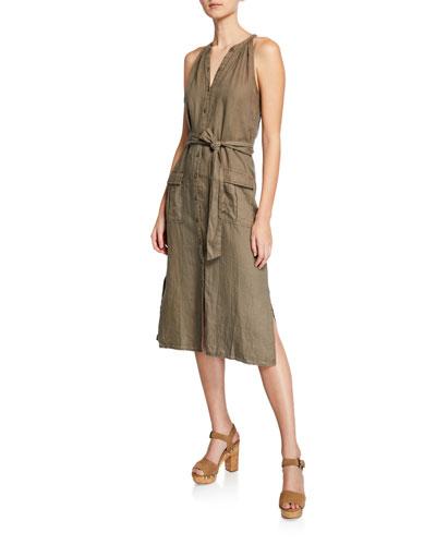 Edelie Linen Halter-Neck Button Midi Dress