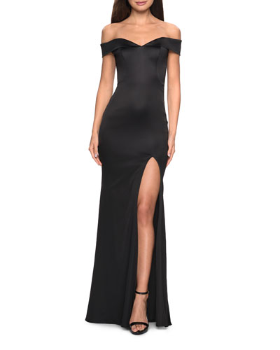 Off-the-Shoulder Stretch Satin Gown with Thigh-Slit
