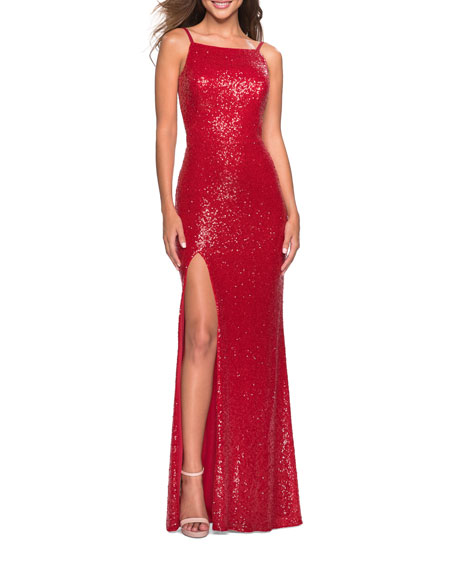 La Femme SEQUIN HIGH-NECK OPEN-BACK SLEEVELESS GOWN
