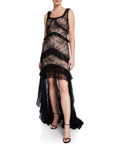 Timotha Lace High-Low Ruffle Gown