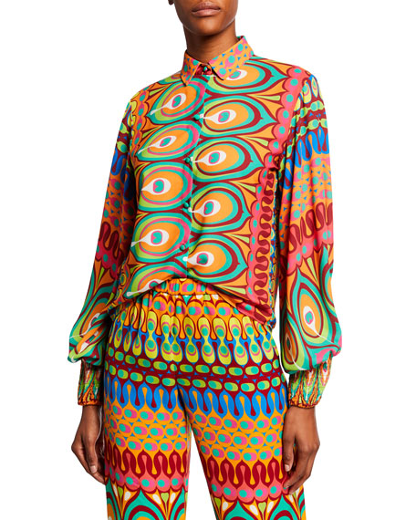 Alexis Tops KAITO PRINTED BUTTON-FRONT LONG-SLEEVE TOP