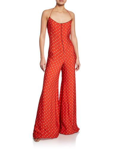 Holland Dot-Print Halter Wide-Leg Jumpsuit