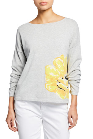 Joan Vass Long-Sleeve Flower Intarsia Cotton Sweater