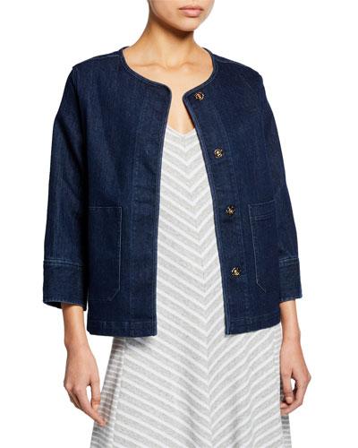 Petite Snap-Front Denim Jacket