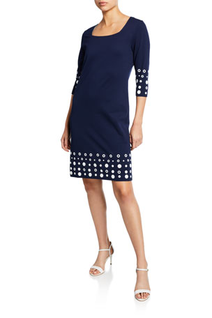 Joan Vass Petite Square-Neck 3/4-Sleeve Dress with Circle Border Trim