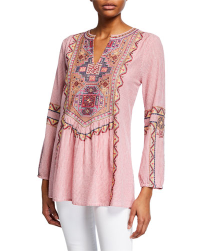 Lauren Striped Embroidered Long-Sleeve Tunic