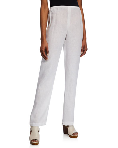 Petite Linen Straight-Leg Pants