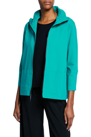Caroline Rose Plus Size Summer Stretch Zip-Front Jacket