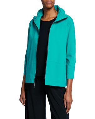 d01f1765f3dd Caroline Rose Plus Size Summer Stretch Zip-Front Jacket