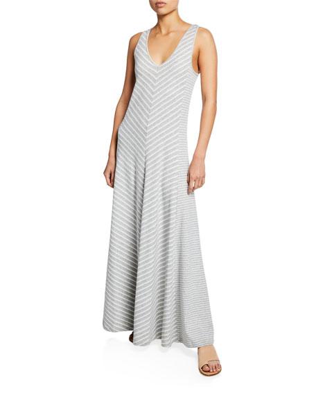 Joan Vass Dresses PETITE STRIPED SLEEVELESS V-NECK MAXI DRESS