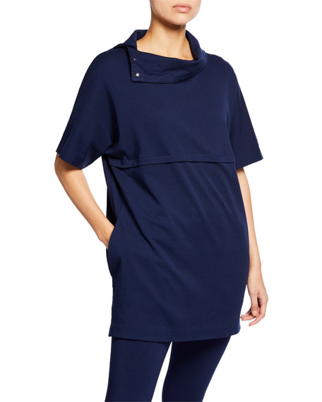 Joan Vass Tops COWL-NECK ELBOW-SLEEVE EASY TUNIC WITH POCKETS