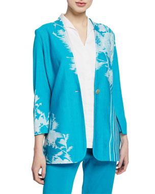 43a4e9dbbed Misook Plus Size Floral-Print One-Button Long Jacket