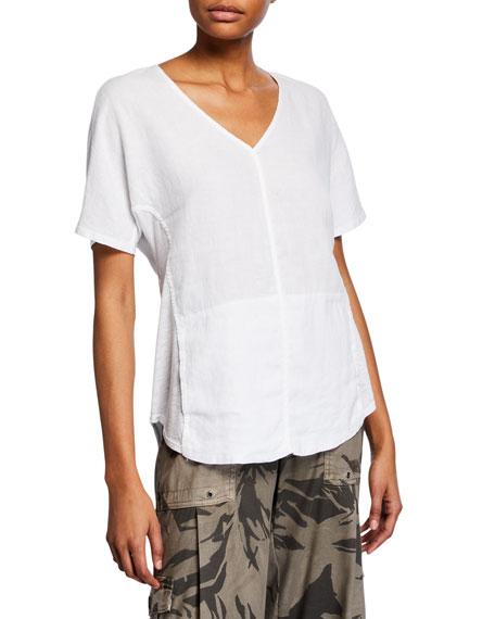 Xcvi T-shirts HAYSTACK SPLIT-BACK SLUB SHIRT