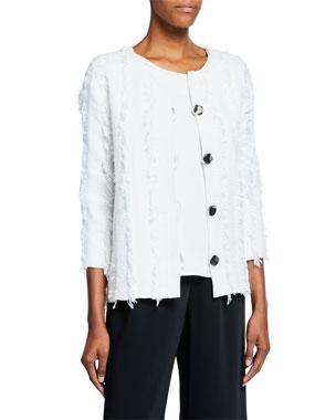 0281feb9fba Caroline Rose Plus Size Glamour Fringe Button-Front Boxy Jacket