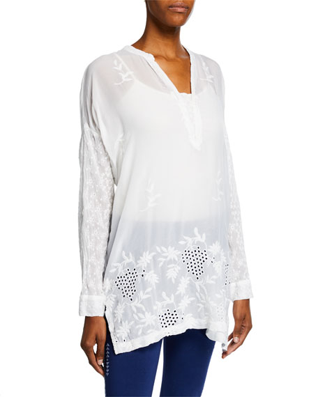 Johnny Was Tops PETITE ELLIE LONG-SLEEVE GEORGETTE EYELET & EMBROIDERED TOP