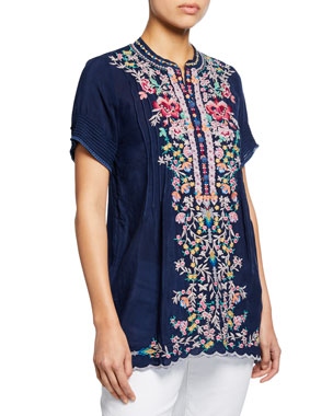 664811ded7360 Johnny Was Petite Raina Floral-Embroidered Pintucked Georgette Top