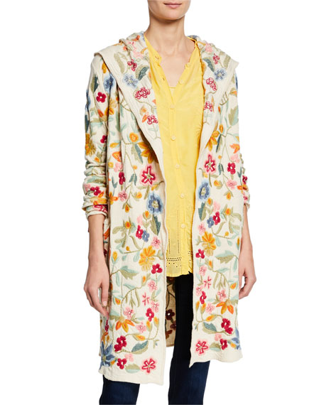 Johnny Was Tops PLUS SIZE FLORAL-EMBROIDERED OPEN-FRONT HOODED DUSTER