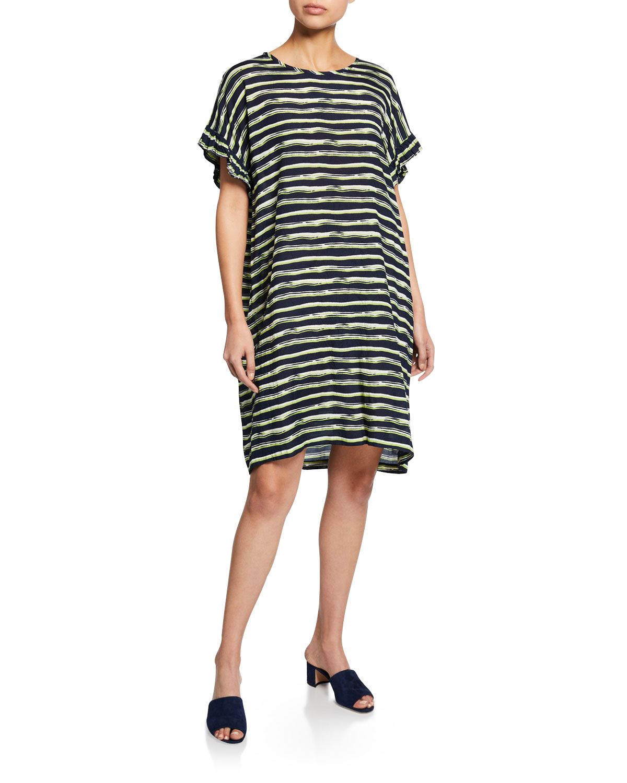 Masai Neiman Nara Marcus Striped Sleeve Shantung Short Dress 4F4rBq