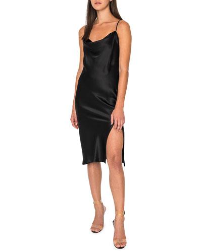 Bella Cowl-Neck Sleeveless Slip Dress