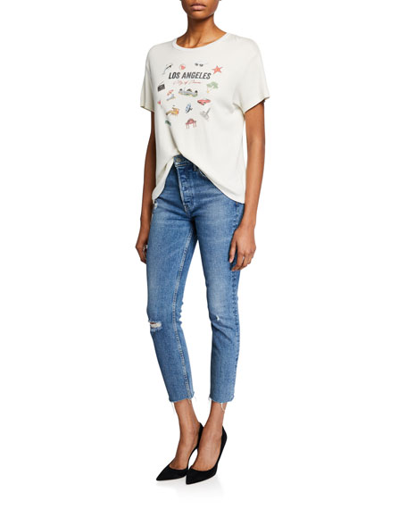GRLFRND Karolina High-Rise Cropped Skinny Jeans - Sixpence