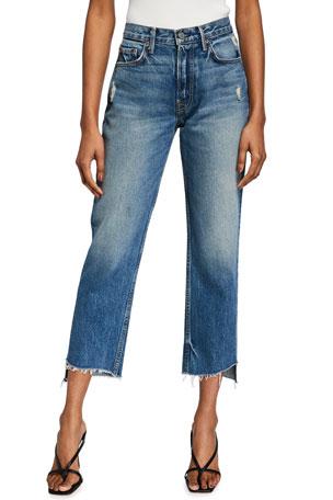 GRLFRND Helena Straight-Leg Cropped Jeans