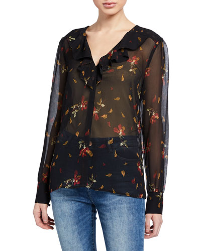 Caressa Petal-Print V-Neck Long-Sleeve Ruffle Blouse