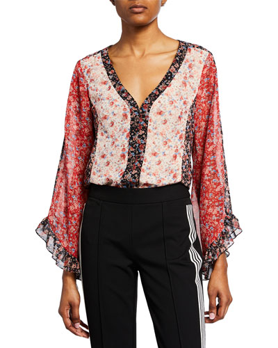Saloon Floral Butterfly-Sleeve Top