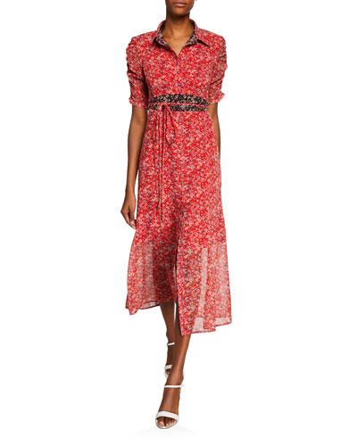 Frontier Floral Midi Dress w/ Self-Tie