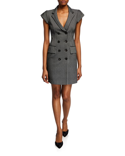 Houndstooth Double-Breasted Coat Dress