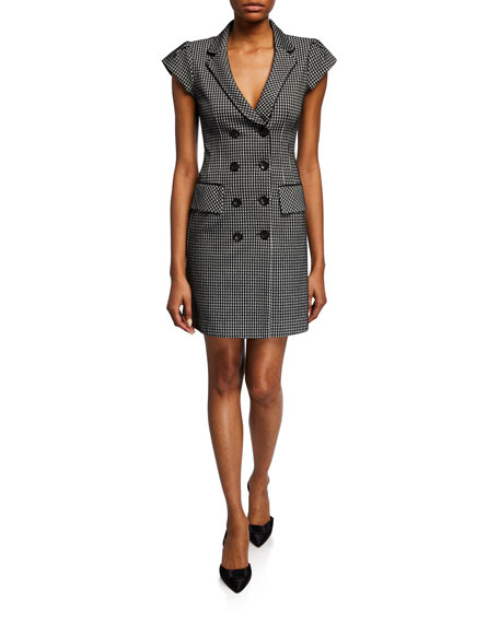 Nanette Lepore Houndstooth Double-Breasted Coat Dress