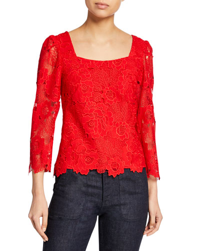 Sweetheart Square-Neck 3/4-Sleeve Floral Lace Top