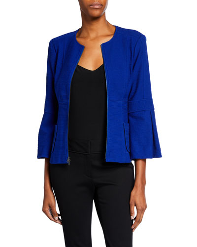 Zip-Front Bell-Sleeve Textured Jacket