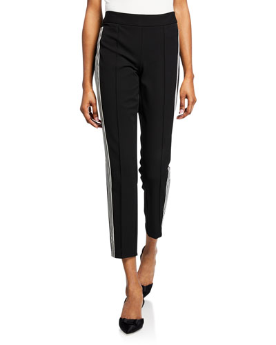 Mid-Rise Side-Stripe Track Pants