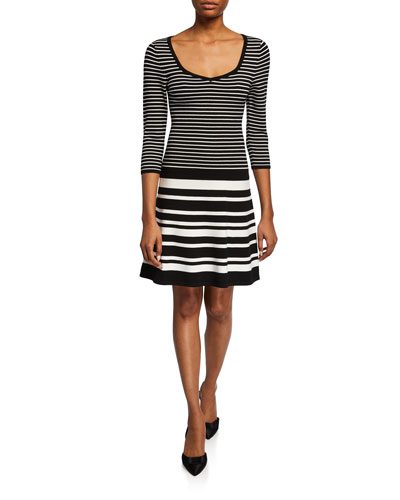 Striped Scoop-Neck 3/4-Sleeve Sweater Dress