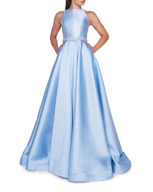 7e90053e1e8 Ieena for Mac Duggal High-Neck Sleeveless Ball Gown w  Embellished Waist