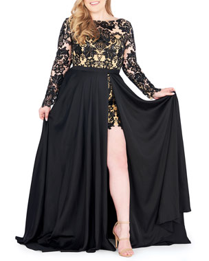 a8c8e470106b Mac Duggal Plus Size Sequin Lace Long-Sleeve Romper w  Removable Chiffon  Wrap Skirt
