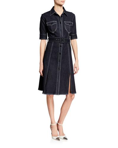 Aurora Button-Front Elbow-Sleeve Belted Denim Dress